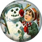 Boy with Snowman, Vintage Christmas Scene 1 Inch Pin Back Button Badge - 1043
