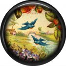 Blue Birds Flying, 1 Inch Pinback Button Badge Pin - 0230
