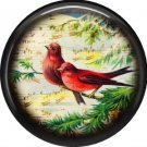 Red Birds, 1 Inch Pinback Button Badge Pin - 0233