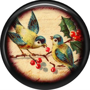 Blue and Yellow Birds, 1 Inch Pinback Button Badge Pin - 0235