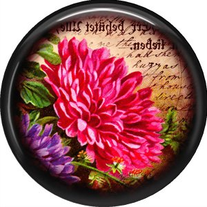 Pink Flower, 1 Inch Pinback Button Badge Pin - 0236