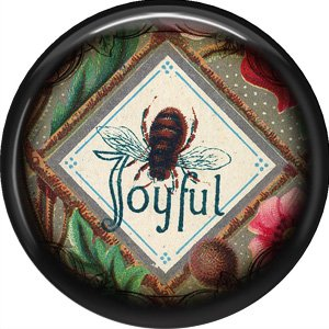 Joyful Bee, 1 Inch Pinback Button Badge Pin - 0239
