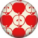 1 Inch Red Whole and Half Apple Pattern, Teacher Appreciation Button Badge Pin - 0846