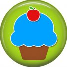 1 Inch Blue Cupcake with Apple on Top, Teacher Appreciation Button Badge Pin - 0851