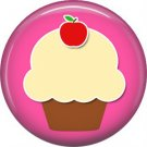 1 Inch Cupcake with Apple on Top Pink Background, Teacher Appreciation Button Badge Pin - 0871