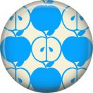 1 Inch Blue Whole and Half Apple Pattern, Teacher Appreciation Button Badge Pin - 0879