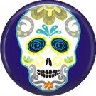 White Sugar Skull on Dark Purple, 1 Inch Dia de los Muertos Button Badge Pin - 6255