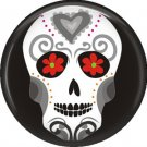 White Sugar Skull on Black, 1 Inch Dia de los Muertos Button Badge Pin - 6256