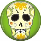 Sugar Skull on Lime Green Background, 1 Inch Dia de los Muertos Button Badge Pin - 6257