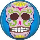 Lavender Sugar Skull on Blue Background, 1 Inch Dia de los Muertos Button Badge Pin - 6258