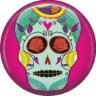 Aqua Sugar Skull on Fuchsia Background, 1 Inch Dia de los Muertos Button Badge Pin - 6259