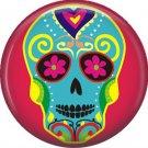 Blue Sugar Skull on Red Background, 1 Inch Dia de los Muertos Button Badge Pin - 6261