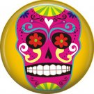 Purple Sugar Skull on Yellow Background, 1 Inch Dia de los Muertos Button Badge Pin - 6262