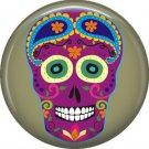 Purple Sugar Skull on Drab Green Background, Dia de los Muertos Button Badge Pin - 6264