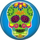Lime Green Sugar Skull on Blue Background, Dia de los Muertos Button Badge Pin - 6265