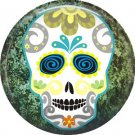 Sugar Skull on Green Marbled Background, Dia de los Muertos Button Badge Pin - 6267