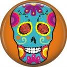 Blue Sugar Skull on Orange Background, Dia de los Muertos Button Badge Pin - 6284