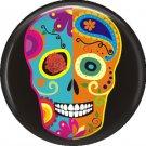 Blue and Orange Sugar Skull on Black Background, Dia de los Muertos 1 Inch Button Badge Pin - 6291