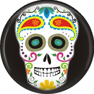 Dia de los Muertos Sugar Skull 1 inch Button Badge Pin - 6292