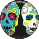 Dia de los Muertos Sugar Skull 1 inch Button Badge Pin - 6294