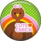 Cute Chick Turkey on Green Polka Dot Background, 1 Inch Thanksgiving Pinback Button - 3072