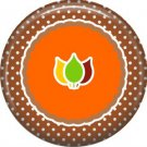 Fall Leaves on Brown Polka Dot Background, 1 Inch Thanksgiving Pinback Button - 3075