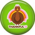 Thankful Turkey on Green Background, 1 Inch Thanksgiving Pinback Button - 3081
