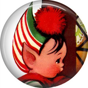 Mid Century Retro Christmas Image on a 1 inch Button Badge Pin - 3086