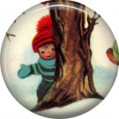 Mid Century Retro Christmas Image on a 1 inch Button Badge Pin - 3088