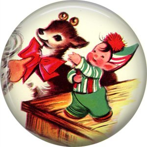 Mid Century Retro Christmas Image on a 1 inch Button Badge Pin - 3096