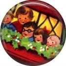 Mid Century Retro Christmas Image on a 1 inch Button Badge Pin - 3108