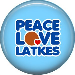 Peace Love Latkes on Light Blue Background, 1 Inch Happy Hannukkah Pinback Button Badge - 3054