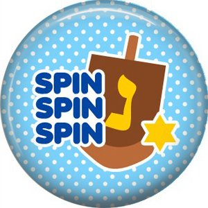 Spin the Dreidel on Light Blue Background, 1 Inch Happy Hannukkah Pinback Button Badge Pin - 3057