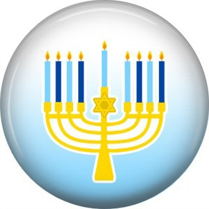 Menorah on Blue Background, 1 Inch Happy Hannukkah Pinback Button Badge - 3061