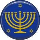 Menorah with Star of David, 1 Inch Hanukkah Pinback Button Badge Pin - 3067