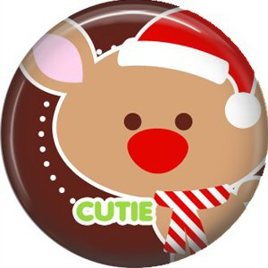 Reindeer Cutie with Red Nose, 1 Inch Be Merry Christmas Button Badge Pinback - 3035