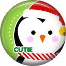 Cutie Santa Penguin, 1 Inch Be Merry Christmas Button Badge Pinback - 3037