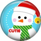 Cutie Snowman, 1 Inch Be Merry Pinback Button Badge Pin - 3046
