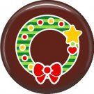 Wreath with Star, 1 Inch Be Merry Pinback Button Badge Pin - 3048