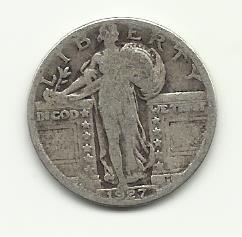 1927 #2 90% Silver Standing Liberty Quarter.