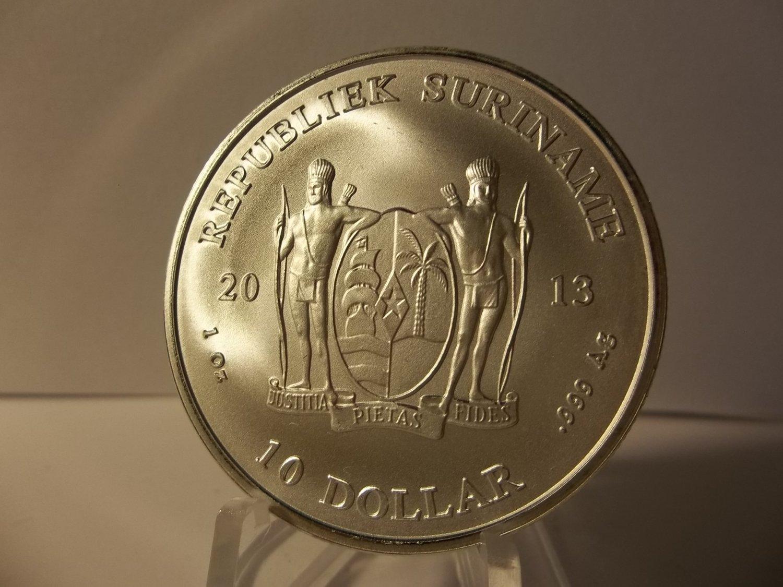 2013 Gem BU Suriname 1 OZ Silver coin