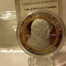 """1706-1790 Proof 50mm Life of Franklin """"The Inventor"""" Silver & Gold Coin"""