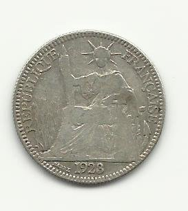1923 #1  Silver 10 Centimes from Indo-China (Vietnam).