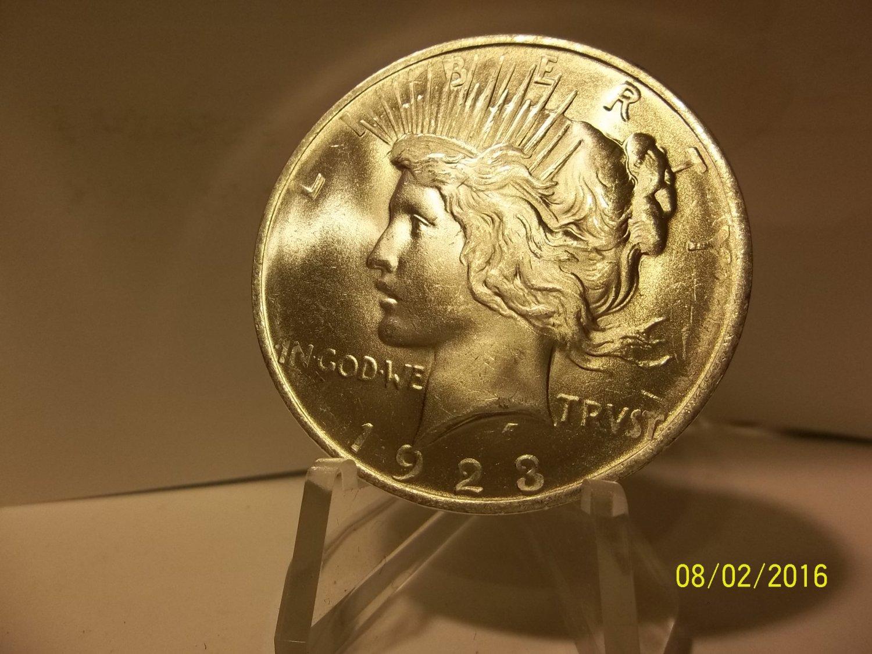 1923 #13 BU MS-63 Peace 90% Silver Dollar.