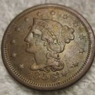 "1856 #1 AU +/- Braided Hair Large Cent with upright ""5""."
