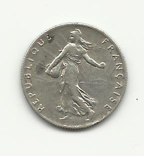 1917 #1  Silver 50 Centimes from France.