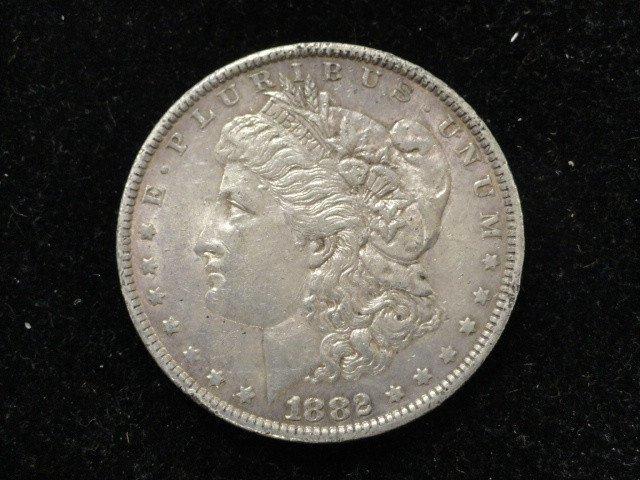 1882 O/S #1 MORGAN SILVER DOLLAR. TOP 100; VAM 4