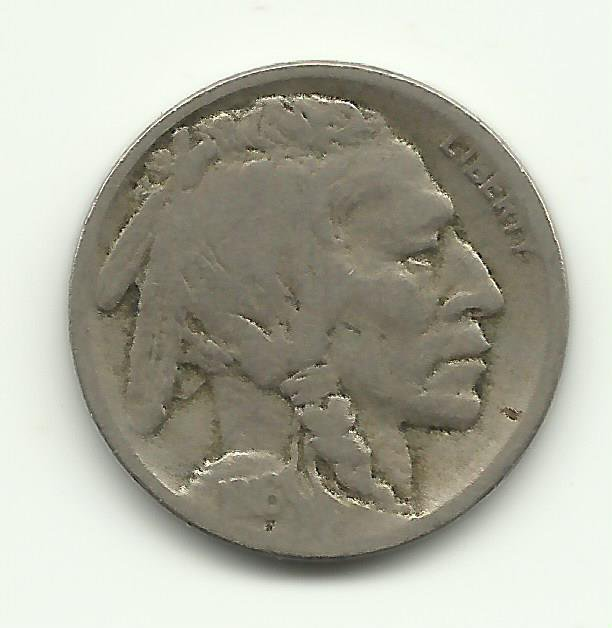 1916-S #5 Buffalo Nickel with half horn.