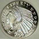 1929 Gem BU 1/10 Oz. .999 Pure Silver Incuse Indian Bullion Coin.