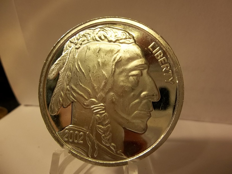 2002 Proof Silver Round Bullion - 1 Troy OZ .999 Fine Silver Indian Head.
